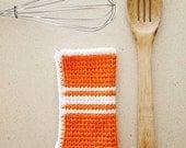 Set of two striped 100% cotton crochet dishcloth / washcloth