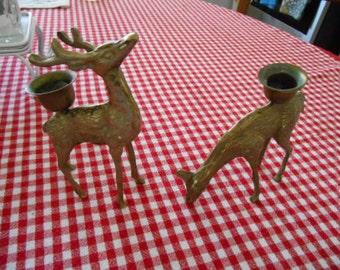 Vintage Set of 2 Brass Reindeer Candle Holders