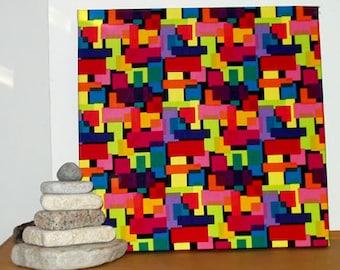 "Sale! Fabric Wall Hanging of Multi Geometric Designer Fabric 20"" x 20"" x  1 3/4"" deep"