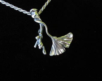 Medium Sterling Silver brutalist Ginkgo Leaf on Branch Pendant