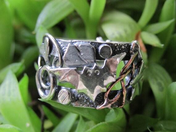 Bat Sterling Silver Brutalist Collage Ring Size 6