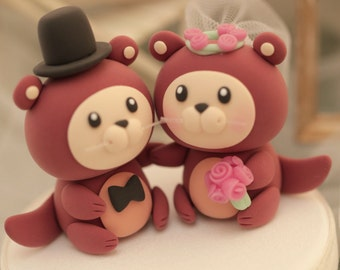 otter ocean theme Wedding Cake Topper----k641