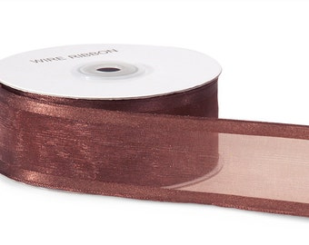 1.5 inch x 100 yds Satin Edge Organza -CHOCOLATE BROWN