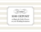 Deposit to Begin the Order Process for Wedding Invitations with Embellished Paperie