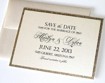 Marilyn Glitter Wedding Save the Date card - Couture Save the Date - Glitter Save the Date - Gold Glitter - Marilyn Sample