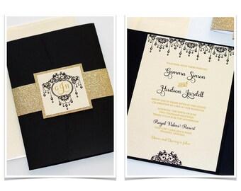 Gold Glitter Wedding Invitation Elegant Vintage Glam