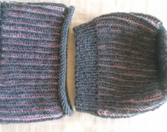 Charcoal Gray and Pink Hat and Cowl or Headband Set