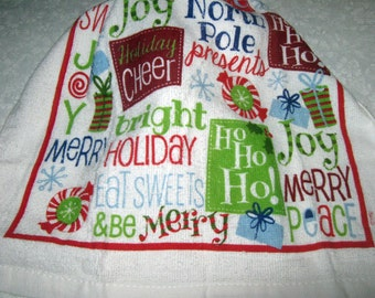 One Kitchen Crochet hanging Towel, Christmas Holiday words, white top