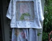 Custom Listing For Becky/ Fleece Hand Painted-Appliqued 1X Shirt/ Decorated Tunic/ Sheerfab Funwear