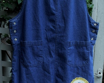 Denim and Daisies Jumper/ Plus Size Jumper/ Funky Upcycled Clothing/Sheerfab Funwear