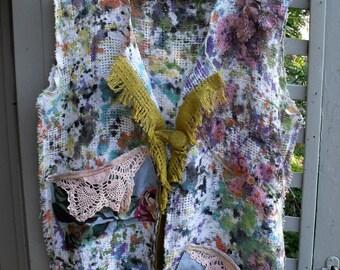 Jazzed Up Jacket/Funky-Fringey-Painted-Junked Coverup/ Plus Size Jacket-Coverup/ Painted-Appliqued-Crochet Sheerfab Funwear