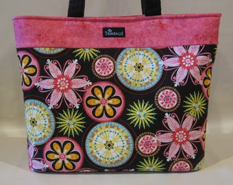 Large Tote Bag, Michael Miller Carnival Bloom Fabric and Amy Butler Lime Moon Dots or Pink Marbled Band