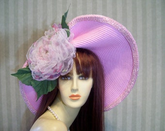 """Pink Kentucky Derby Hat, """"May Day"""" Races Hat, Tea party hat, Ascot hat, Preakness, belmont Hat By Ms.Purdy"""