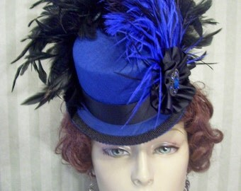 Ladies Steampunk Mini Top Hat Victorian Mini Top Hat Cosplay Hat Neo Victorian Hat Halloween Hat Royal Blue and Black
