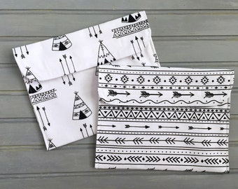 Reusable Set of Sandwich Bags- Black and White Teepees and Arrows