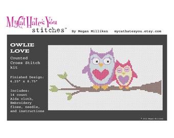 KIT Owlie Love Cute Owl Cross Stitch Kit