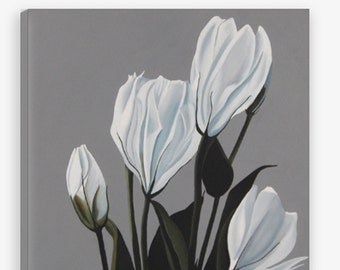 Lisianthus Limited Edition Canvas Print - Gray White Green Large Decorative Modern Botanical Wall Art Print Reproduction
