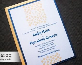 "Geometric Confetti Wedding Invitation Sample - ""Hartford"""