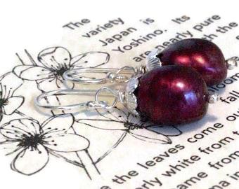 Plump Eggplant Freshwater Pearl Earrings, Stunning Burgundy Earrings,  Purple Pearl Jewelry, Berry Bridal Design, Wedding Gift Earrings