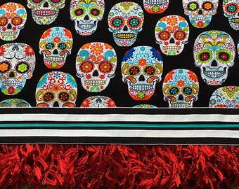 Day of the Dead Tablecloth Mexican Sugar Skulls Black Turquoise Red Fringe