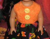 Orange and black Halloween dress made to fit 6-1/2 inch Mini  American Girl Doll