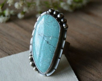 Long Boho Turquoise Ring. Blue Moon Stone Statement Ring. Sterling Silver Ring. Metalsmith Jewelry. Size 7