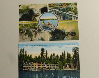 2 Vintage Postcards from Kitch-Iti-Ki-Pi Manistique Michigan