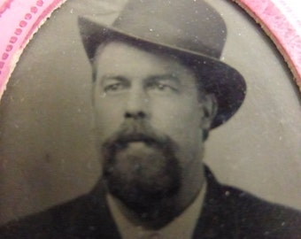 Antique Tiny Tin Type Portrait of Man with a Full Beard and a Dapper Hat