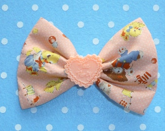 SALE Cute Vintage Style Toy Friends Hair Bow Clip with Peach Tea Party Heart Detail