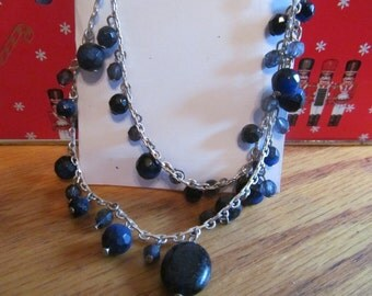 black bead two strand necklace