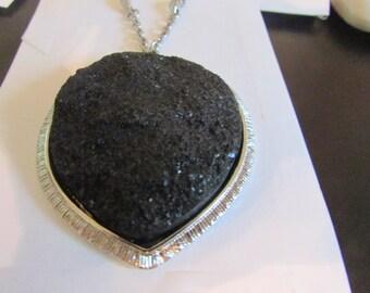 big black lava rock pendent