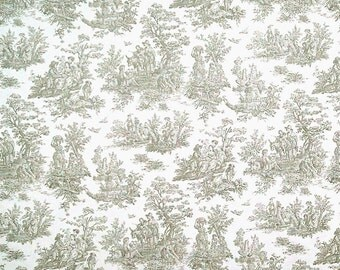 Jamestown Toile Storm Gray Cotton Twill fabric | Home Dec Cotton fabric | Premier Prints