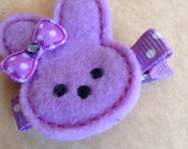 Boutique Embroidered Felt Purple Easter Bunny Hair Clippie