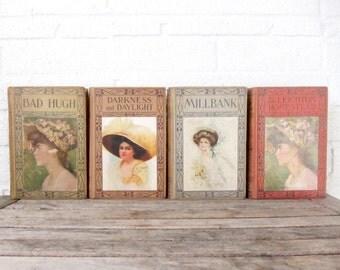 Vintage Tan Ombre Book Set - Ladies in Hats Collection of Books - Four Vintage Ladies Books - Rustic Wedding Decor - Romantic 1900s Novels