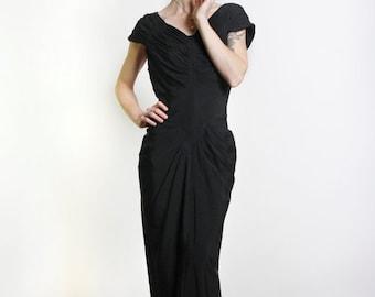 ON SALE 1940s LBD Black Rayon Dress