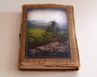 mountain lookout inspire journal  - tri fold waxed burlap journal