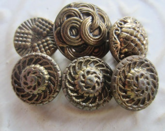 Vintage Buttons - molded metal, Victorian and other, small, to medium assorted designs, lot of 6 (may 129b)