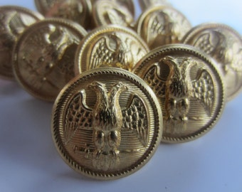 Vintage  Buttons - stamped Superior Quality, military 2 headed eagle crested gold metal, 12 ( oct18)