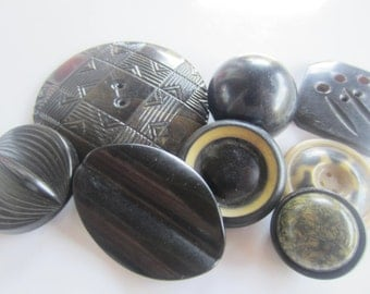 Vintage Buttons -9 assorted novelty black buttons, celluloid (mar 57)