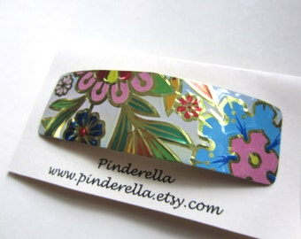 Vintage Tin Floral Botanical Pattern Barrette Hair Clip in blue and cream