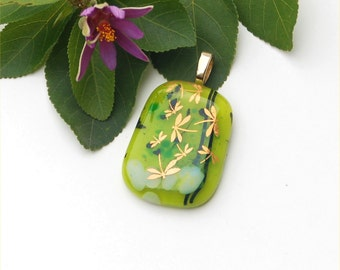 Fused glass pendant, with golden dragonflies
