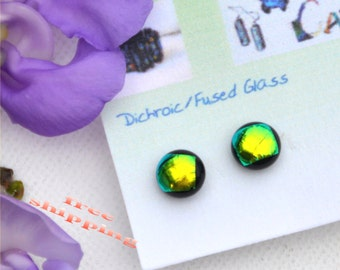 177 Fused dichroic glass earrings, shiny, round, green, gold