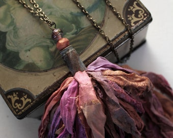 Rustic Renaissance Sari Silk Tassel Necklace, Multicolored Floral Sari Silk, Lampwork Bead, Hand OX Art Shell, Art Jewelry, Cheldena