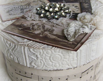 Keepsake Box Handmade Vintage Cottage White Vintage Style Altered Box Vintage White Decor Vintage Jewelry Box Shabby White Decor