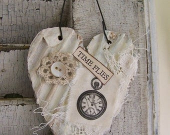 Shabby White Decor  Heart Ornament Vintage Clock Collage Vintage Mixed Media Cottage Style Heart Wall Hanging Antique Paper Heart Ornament