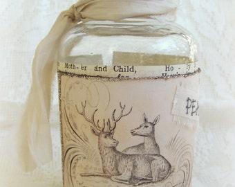 Altered Christmas Bottle Vintage Christmas Vintage Reindeer Vintage Christmas Decor Rhistestone Mixed Media Winter White Christmas