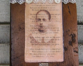 Antique Photograph Art Block Altered Photograph Block Antique Reclaimed Barn Wood Assemblage Barnwood Art Image Transfer Photo Collage
