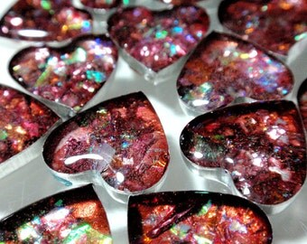 Faux Fire Opal Bezel Stone Tiny Heart Cabochons Acrylic Pour Cabs Jewelry Making Phone Case Decoden Multi Media A2