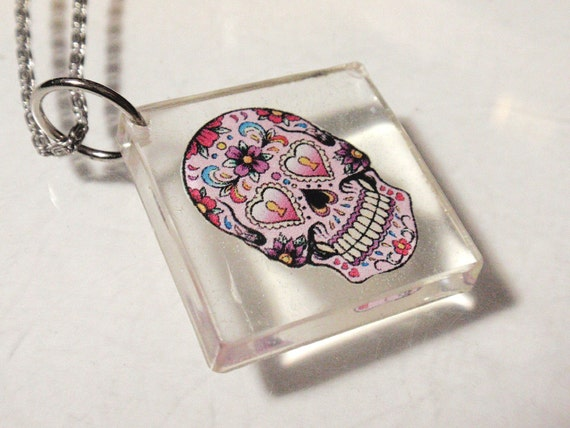 Sugar Skull Pendant or Clear Acrylic Sun Catcher Day of The