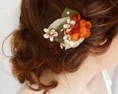 fall hair accessories, fall wedding hair piece, orange hair clip, bridal hair accessory, rustic wedding, autumn wedding, fall bridal hair